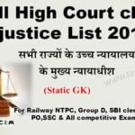 list 2020 for chief justice of all states in india-राज्यों के उच्च न्यायालय के मुख्य न्यायाधीश
