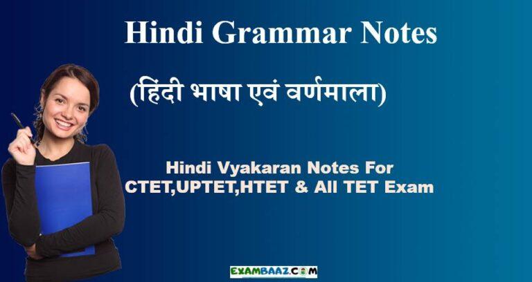 Hindi Vyakaran Notes