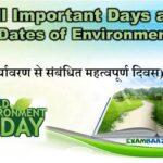 All* Important Days and Dates of Environment (पर्यावरण से संबंधित महत्वपूर्ण दिवस)