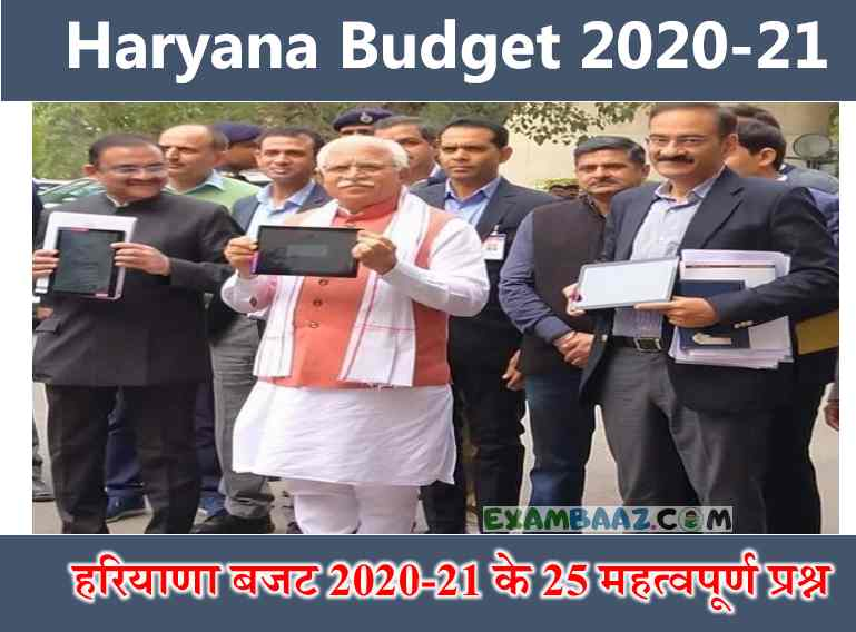 Haryana Budget 2020 Important Questions