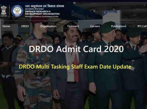 DRDO Admit Card 2020 Download