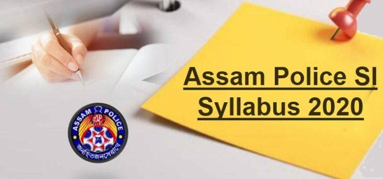 Assam SI Syllabus 2020 Pdf