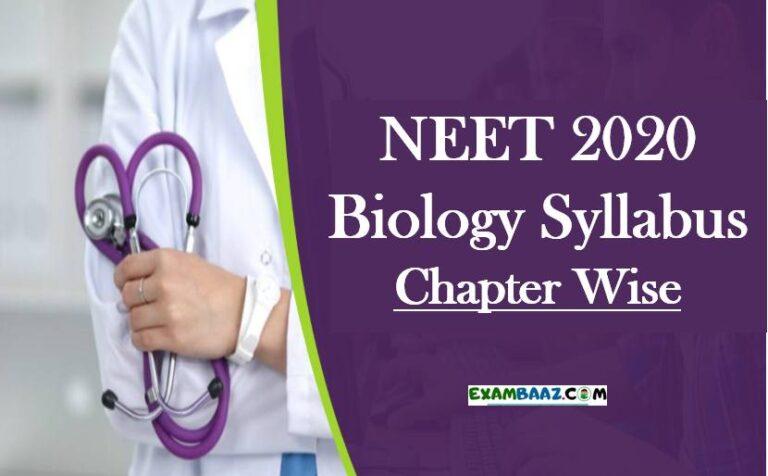 NEET 2020 Biology Syllabus Chapter Wise