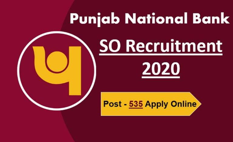 PNB SO Recruitment 2020