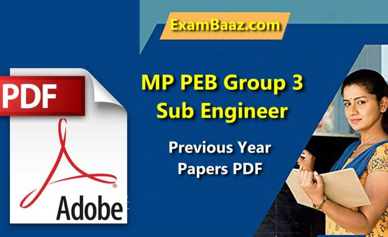 MP PEB Group 3 Sub Engineer Old Questions Paper